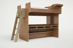 The Arca queen size loft bed was created by designer Roberto Gil to address the needs of urbanites who are living in small or micro-apartments. This model features a bench, open storage space and a desk underneath a lofted bed.