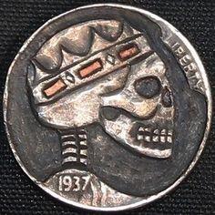 "DAVID ""COALBURN"" RAYMOND HOBO NICKEL - SKULL KING W/COPPER INLAY - 1937 BUFFALO PROFILE Hobo Nickel, Betty Boop, Coins, Copper, Skull, Carving, Personalized Items, Buffalo, David"
