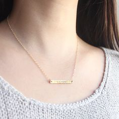 Sideways Gold Bar Necklace - side golden bar 14k gold filled necklace, simple minimal everyday jewelry by petitor. $30.00, via Etsy.