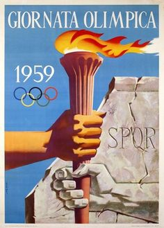 GREGORI – Vintage poster – One year before the Olympic Games, the city of Rome organized an Olympic day, to announce and promote the Games. On this poster 'antiquity' hands over the Olympic torch to modernity. Vintage Italian Posters, Vintage Travel Posters, Summer Games, Winter Games, Poster Ads, Graphic Posters, Bottle Design, Rome Italy, Olympic Games