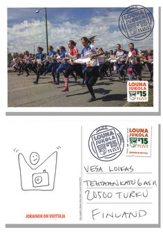 My photo of the Venla relay start was selected for the official Louna-Jukola postcard. Hundreds of postcards with a special Jukola stamp were sent only hours after the race started . Graphic design is by Antti Vaalikivi and Clou Graphics. Photo Essay, Finland, Sport, Night, Words, Movie Posters, Prints, Photography, Deporte