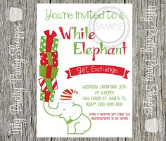 White Elephant Christmas Party Invitation My Party Printables