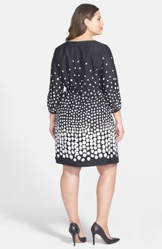 Free shipping and returns on Tahari by ASL Belted Graduated Dot Dress (Plus Size) at Nordstrom.com. A gleaming metallic detail at the keyhole neckline draws the eye to your pretty face, while a narrow tie belt defines your waist in a crêpe de Chine shift dress in an optically intriguing black-and-white print.