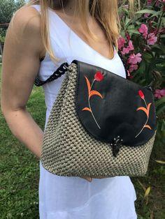 Handmade Crochet Bag | Flower Embroidery Design | Shoulder Bag | Eco Friendly Leather | Gift for Women | Greek Design & Art | Unique Bag by 520HaAcBoutique on Etsy Embroidery Bags, Flower Embroidery Designs, Custom Embroidery, Floral Embroidery, Leather Gifts, Leather Cap, Greek Design, Unique Bags, Shoulder Purse