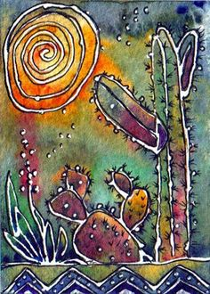 just right for a Happy Cactus Monday! Cactus Decor, Cactus Art, Cactus Drawing, Batik Art, Desert Art, Southwest Art, Mexican Art, Art Plastique, Fabric Painting