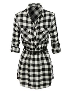 LE3NO Womens Loose Fit Plaid Shirt Dress with Faux Leather Belt