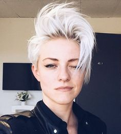 short disheveled platinum blonde hairstyle
