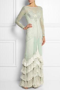 Temperley London|Robe longue du soir en georgette de soie à ornements Silvia|NET-A-PORTER.COM