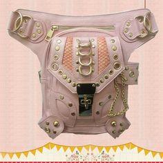 Steampunk Vintage Pink Bag Burning Man Steam Punk Retro Rock Gothic Waist  pack Women thigh Chain d47339dd31
