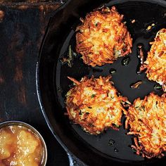 Classic Potato Latkes   You'll need to cook latkes in batches. Place the cooked ones in a single layer on a baking sheet lined with paper towels, and keep them warm in a low oven as you fry the next batch.