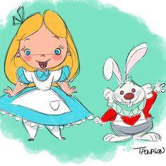 Happy Friday! #aliceinwonderland #whiterabbit #disney #doodle #sthompsonart #wereallmadhere #imlate