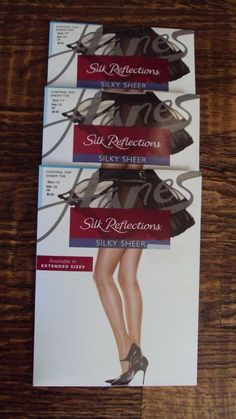 2280a83cb Lot 3 NEW Hanes Silk Reflection Sheer Toe Control Top Pantyhose Jet Black  Sz CD
