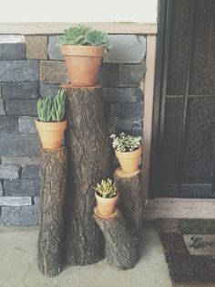 My hubby is so creative. We had to cut down a tree and instead of throwing it away. He made good use of it :) -  succulents, firewood, used old wood, wood decorations, Terra-cotta pots, front porch, wood,  natural decoration, cheap decoration
