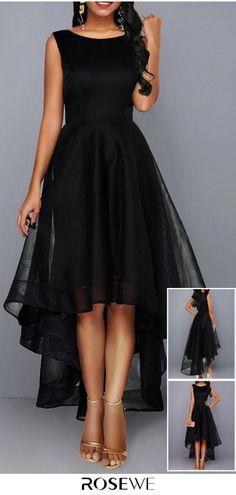 Sleeveless High Waist Mesh Patchwork Black Dress – Diet and Slimming Simple Dresses, Elegant Dresses, Pretty Dresses, Beautiful Dresses, Casual Dresses, Fashion Dresses, Formal Dresses, Short Dresses, Evening Dresses