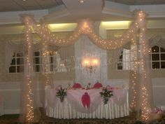 Head-table Tulle Draping w/ Lights