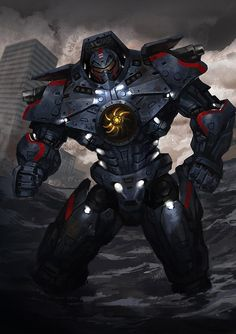 Piloted by Raleigh Becket and Mako Mori in the film, Pacific Rim, the Gypsy Danger is built for one purpose only. To beat the living crap out of giant monsters! Big Robots, Cool Robots, Godzilla, Pacific Rim Jaeger, Gipsy Danger, Movies And Series, Avengers, King Kong, Good Movies