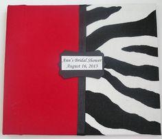 Los huéspedes de cebra Book-Zebra Imprimir & Rojo, ducha nupcial, Fiesta de Cumpleaños, Baby shower