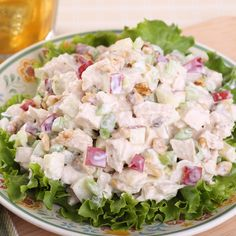 Make this chicken waldorf salad recipe and serve over a fresh curled leaf lettuce. A super nutritious and tasty salad. Great in the summertime.. Chicken Waldorf Salad Recipe from Grandmothers Kitchen.