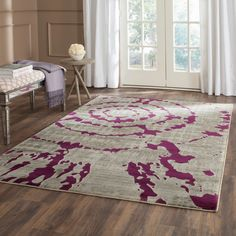 Safavieh Porcello Abstract Contemporary Light Grey/ Purple Rug (8'2 x 11') (PRL7735B-8), Size 8' x 10'