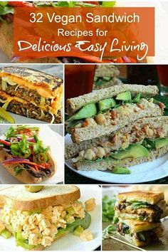 32 Vegan Sandwich Recipes are starring in this versatile collection from big fat submarine sandwiches, to soft salad and veggie sandwiches. Breakfast, lunch and dinner are represented. Grilled, raw, patties, no bake, tofu, seitan, vegetables and so much more! #veganrecipes #vegan #vegansandwiches #lunch #tofu #seitan via @VeganFreezer