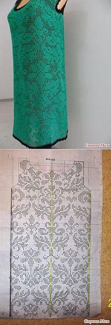 Платье-сарафан. цвета изумруд, филейное вязание+мотивы - Вязание - Страна Мам