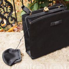 Vintage Purse Mad Men Black Satin Evening Bag by prettyinprague, $18.00