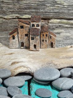 Miniature Medieval Italian village - group of old houses - OOAK ceramic mini… Clay Houses, Ceramic Houses, Paper Houses, Miniature Houses, Pottery Houses, Italian Village, Raku Pottery, Fairy Houses, Little Houses