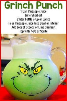 Grinch Punch For Christmas Party Punch - Tipsy Grinch Punch Too Easy Punch Recipes for a Crowd and Easy Party Drinks Ideas too! Lots of insanely good and super simple party punch recipes on this page! There are both non-alcoholic punch … Christmas Punch, Christmas Party Food, Grinch Christmas, Christmas Desserts, Christmas Recipes, Holiday Punch, Xmas, Christmas Foods, Christmas Appetizers