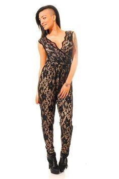 2015 Sexy Black Floral Lace Jumpsuit macacao feminino e macaquinhos women summer plus size XXL casual clubwear jumpsuits female