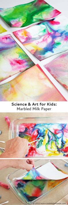 & Art for Kids: Marbled Milk Paper - Babble Dabble Do Learn how to make Marbled Milk Paper from the popular marbled milk science experiment.Learn how to make Marbled Milk Paper from the popular marbled milk science experiment. Kid Science, Milk Science Experiment, Science Crafts For Kids, Science Experiments For Toddlers, Summer Science, Chemistry Experiments, Science Chemistry, Physical Science, Science Education