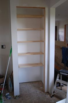 Bathroom Closet Shelving Ideas good idea for closet shelves. think i may try thisand cover the
