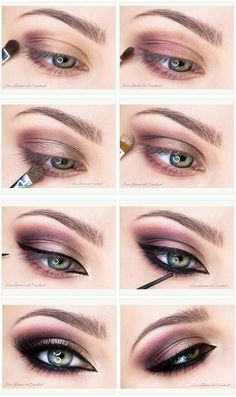 Mauve smokey + black eyeliner make-up