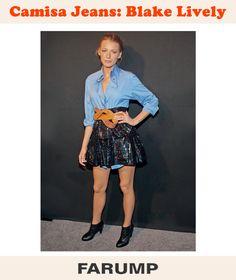 Blake Lively apostou em mais um look inspirados, e dessa vez com camisa jeans! Essa peça transita facilmente do universo casual ao elegante. Experimente combiná-la com peças mais sofisticadas e potencializar os acessórios como fez a atriz.