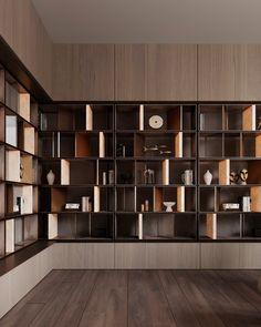 Office Interior Design, Office Interiors, Interior Design Living Room, Living Room Designs, Shelving Design, Bookshelf Design, Modern Shelving, Estilo Interior, Bookcase Shelves