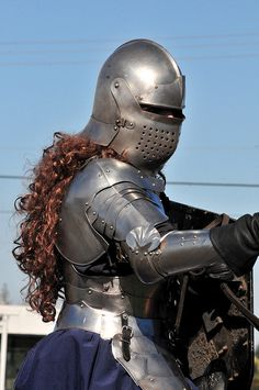lady knight curly hair medieval armor weapon sword weaponry past girl Medieval Knight, Medieval Armor, Medieval Fantasy, Female Armor, Female Knight, Lady Knight, Knight In Shining Armor, Knight Armor, Crusader Knight