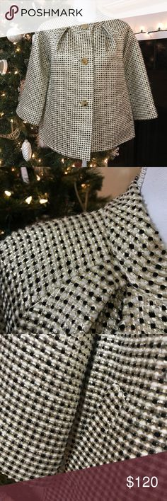 Kate Spade Gold And Black Jacket Condition: Great Size: medium Colors: Gold Black And White kate spade Jackets & Coats Pea Coats