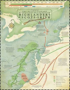 A map of Pre-Revolutionary Migrations of the Scottish Highlander and Scots-Irish. Scotland History, Family Roots, Family Genealogy, Scottish Highlands, Family History, Texas History, Women's History, Ancient History, Amigurumi