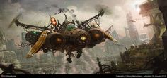 Small steampunk spaceship on the city by Stacy Ntarumbana | 2D | CGSociety
