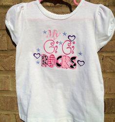 Girls grandmother  Gigi rocks Applique Personalized shirt via Etsy