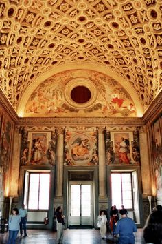 Great hall of Villa Medici CE) Poggio a Caiano - frescoes added in 1570 Regions Of Italy, Firenze, Courtyards, Italy Travel, Fresco, Villas, Tuscany, Barcelona Cathedral, Places Ive Been