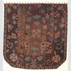 """PACKARD BED RUG/ Unidentified member of the Packard family, Jericho, Vermont, 1806, wool, 94 × 90 1/2"""", collection American Folk Art Museum, gift of Cyril Irwin Nelson in honor of Cary Forney Baker Jr., 2002.31.1. Photo credit: America Hurrah Archives."""