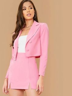 Check out this Double Breasted Crop Blazer and M-split Skirt Set on Shein and explore more to meet your fashion needs! Rosa Blazer Outfits, Crop Top Outfits, Pink Skirt Outfits, Pink Skirts, Classy Outfits, Cute Outfits, Matching Outfits, Rosa Rock, Look Office