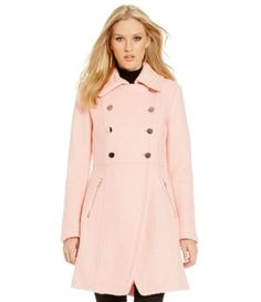 Guess Double-Breasted Fit-and-Flare Wool Coat | Dillards
