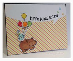Year Four Stamp Set Lawn Fawn hippo birdie to you Birthday Card
