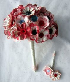 Vintage Button & Paper Flowers Wedding Bridal by iheartbuttonsuk, £115.00