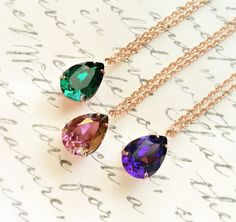 Rhinestone Necklace Rose Gold Swarovski Crystal Necklace by JBMDesigns $27.00 **Click to see details**