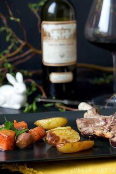 Ostermenü 2016: Meine drei Gänge mit Weinempfehlung - Hauptgang - Lammkarree mit Wurzelgemüse und kleine Ofen-Kartoffeln dazu 2012 Tenuta Frescobaldi di Castiglioni, Toscana, Italien