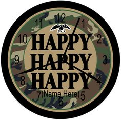"""Personalized Duck """"Happy Happy Happy"""" Green Camouflage Wall Decor Clocks For Home, Man Cave Or office."""