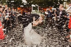 Confetti During First Dance | Photography: Shaun Menary Photography. Read More:  http://www.insideweddings.com/weddings/outdoor-elements-in-lavish-modern-wedding-of-childhood-sweethearts/802/