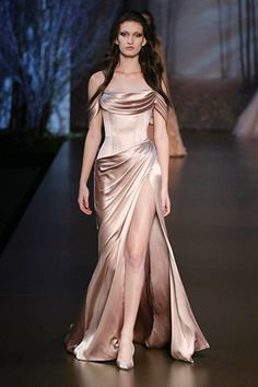 Look number 12 from Ralph and Russo wedding dresses Autumn Winter 2015/2016 - Metallic rose pink silk double satin dress- see the rest of the collection on www.onefabday.com